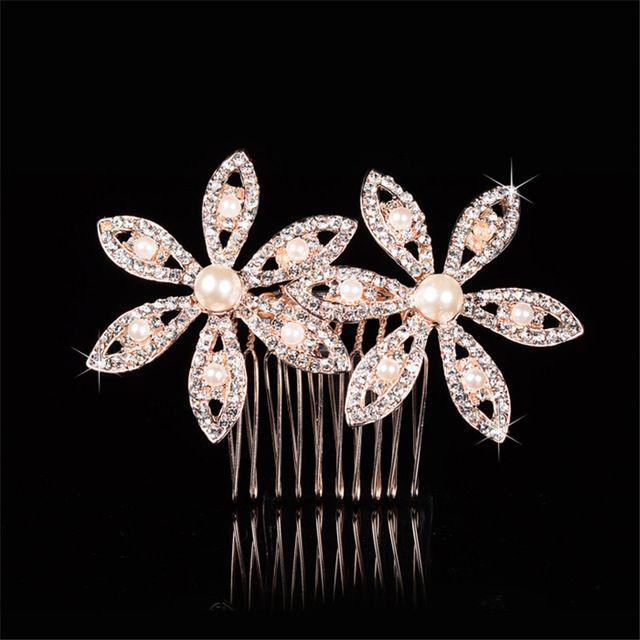 Nova moda de ouro real do Vintage da flor do metal pérola pentes de cristal faixas de cabelo barroco headband acessórios de jóias mulheres presente