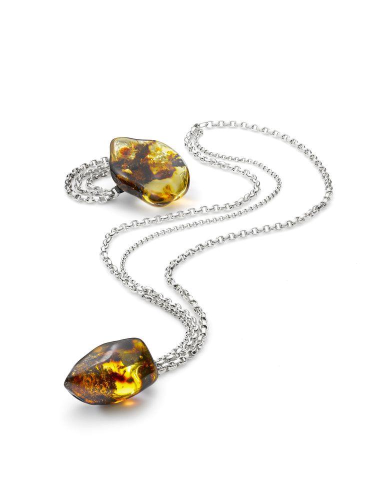 House of Amber by Bukkehave - Silver necklace and bracelet with amber.