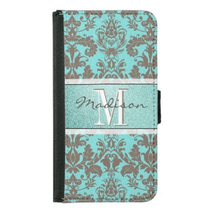 Teal Turquoise blue & Brown Damask  Personalised Samsung Galaxy S5 Wallet Case - monogram gifts unique design style monogrammed diy cyo customize