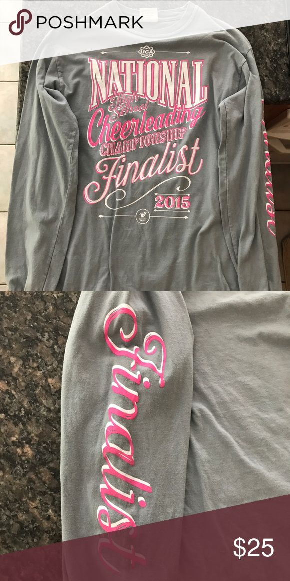 National HS Cheer Championship 2015 Finalist Shirt National High School Cheerleading 2015 Finalist Long-Sleeve T-Shirt worn once, still looks and feels brand new I have one small and one medium for sale UCA and Varsity brand It only looks that wrinkly because it has been folded for so long Varsity Tops Tees - Long Sleeve