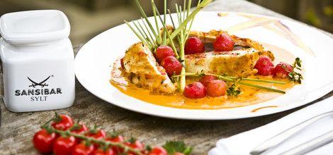 Mit Gamba gefüllte Maishuhnbrust mit Tomaten, Zitronengras und Curryrahm Sansibar Sylt