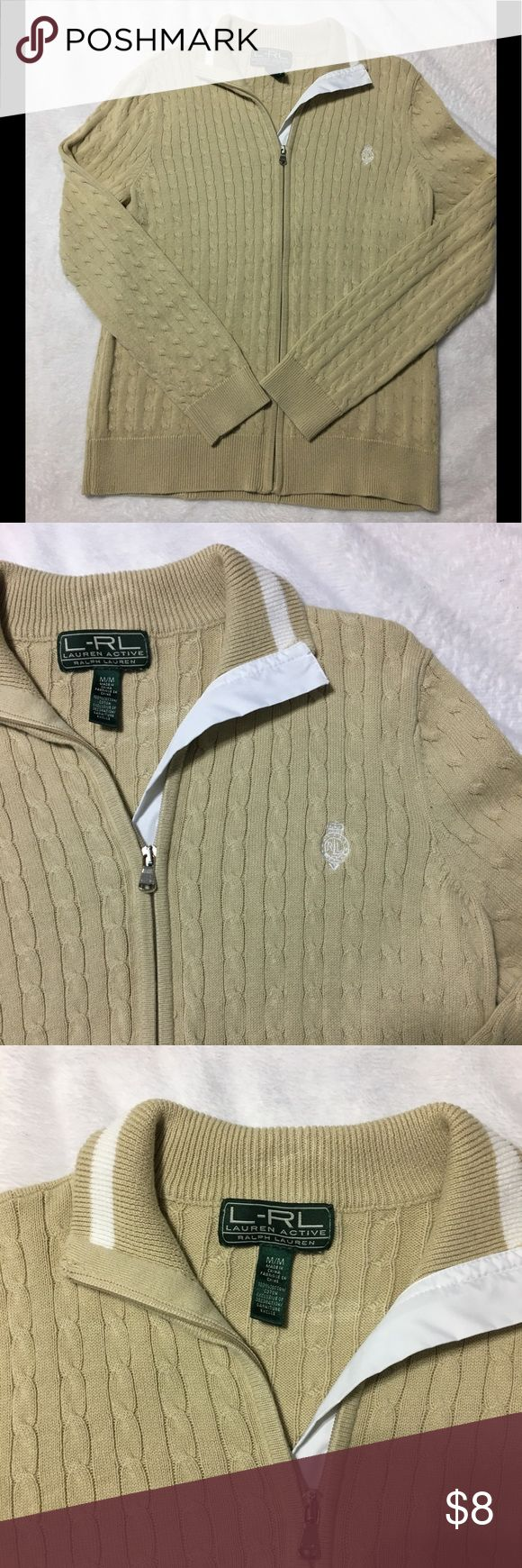 Ralph Lauren zip up sweater Another work staple from my closet. This zip up Ralph Lauren sweater is comfortable and versatile. Wear with jeans or dress slacks. Tan in color. Bundle and save on shipping and get a discount. Ralph Lauren Sweaters Cardigans