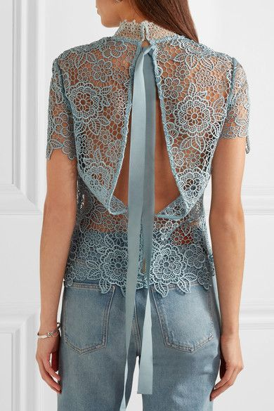 Sky-blue guipure lace Concealed hook and zip fastening at back 98% polyester, 2% cotton Hand wash Designer color: Icy Blue Imported
