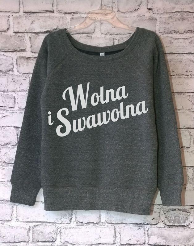 SWAWOLNA Off-Shoulder Sweatshirt