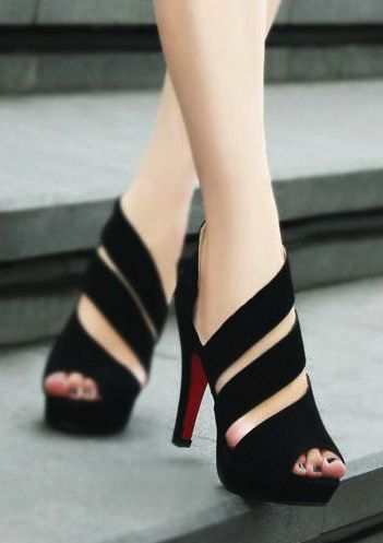 Black straps high heel sandals