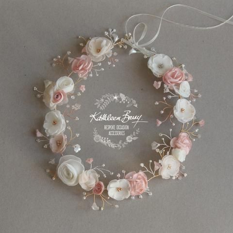 Nicci Bridal flower crown wreath - colors to order - Rose Gold