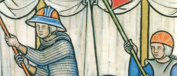 padded caps. detail of Folio 27 verso Maciejowski Bible (Morgan Picture Bible) as early as 1266