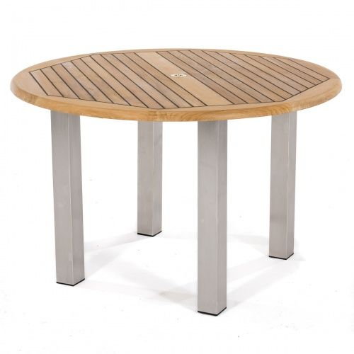 4ft Dia Vogue Dining Table Teak Stainless Stee With Images Teak Patio Table Stainless Steel Furniture Westminster Teak