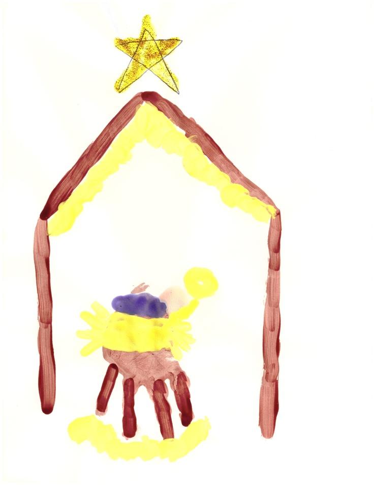 Baby Jesus hand print manger