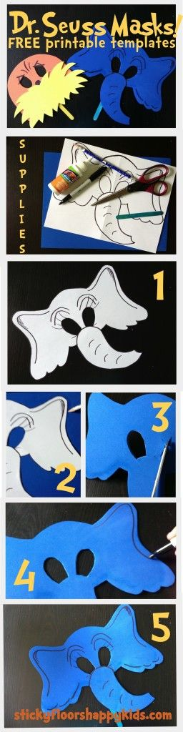 Dr. Seuss' The Lorax and Horton Masks FREE Printable Templates and Instructions! HORTON1-5