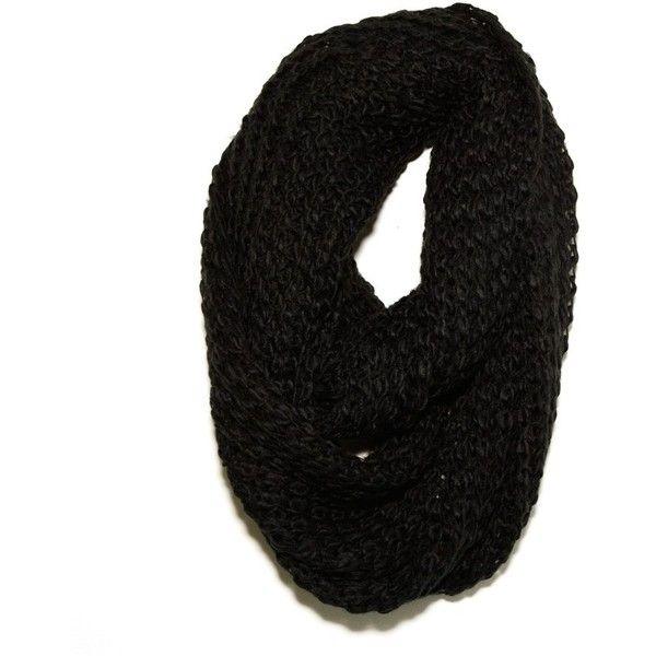 Paula Bianco Chunky Infinity Scarf in Black found on Polyvore