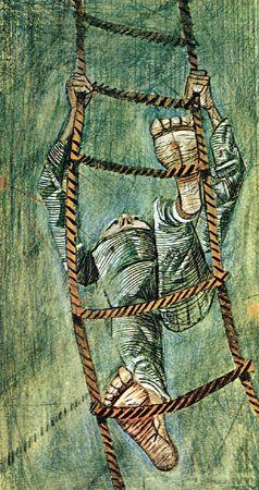 Homem subindo em escada de corda / Portinari