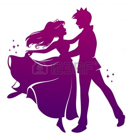 silhouet van prins en prinses dansen samen Stockfoto