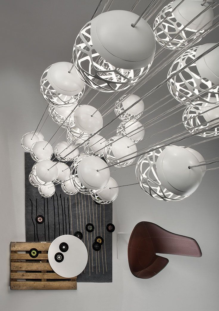 KELLY CLUSTER: Lamp in painted metal, characterised by the cut created with 3D laser technology. Supplied with dimmable led with direct power supply to the ac line voltage technology allows to create cluster able to impress even the most demanding people. Creating fascinating compositions and great individuality. http://www.studioitaliadesign.com/prodotto.asp?lingua=eng&id=753