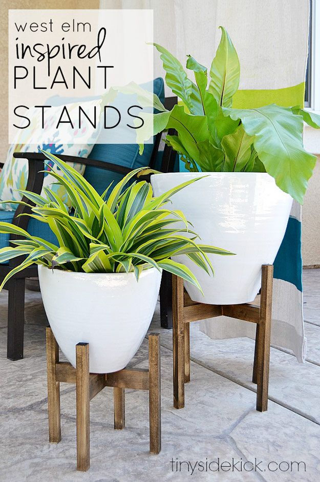DIY Furniture Store KnockOffs - Do It Yourself Furniture Projects Inspired by Pottery Barn, Restoration Hardware, West Elm. Tutorials and Step by Step Instructions  |   West Elm Inspired Wooden Plant Stands     |   http://diyjoy.com/diy-furniture-store-knockoffs
