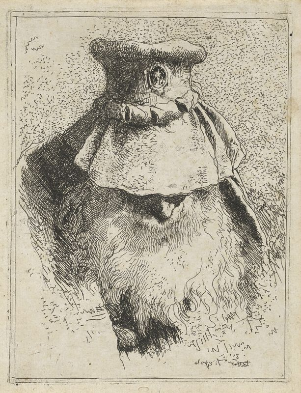 Giandomenico Tiepolo, Italian, 1727–1804, Old Man with a Large Hat, from the Raccolta di Teste (Collection of Heads), ca. 1757.