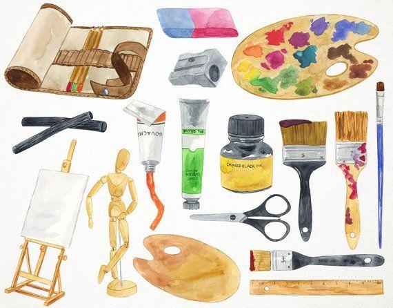 Art Clipart Art Supplies Clipart Watercolor Art Artist Clipart