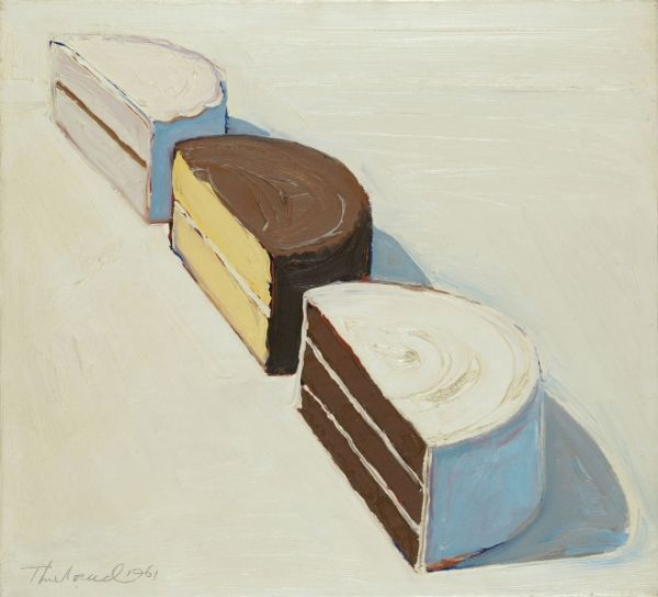 thiebaud essay This painting was produced by wayne thiebaud (born 1920) in the year 1964 the lifelike painting shows an image of 'three strawberry shakes' with three str.