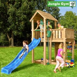 Jungle Mansion - An exclusive outdoor climbing frame, bordering on opulent, with fun features including a Bucket and curved slide.