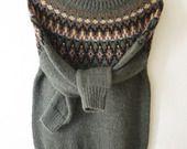 Pull tricoté main laine alpaga jacquard style islandais lopapeysa aux couleurs d'automne