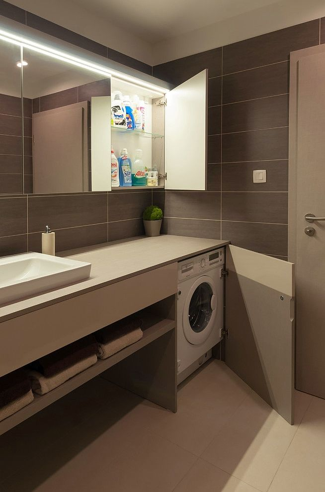 Brilliant Space Solving With Washing Machine, Brown Vanity And Glass Shelves Behind The Wide Clear Mirror