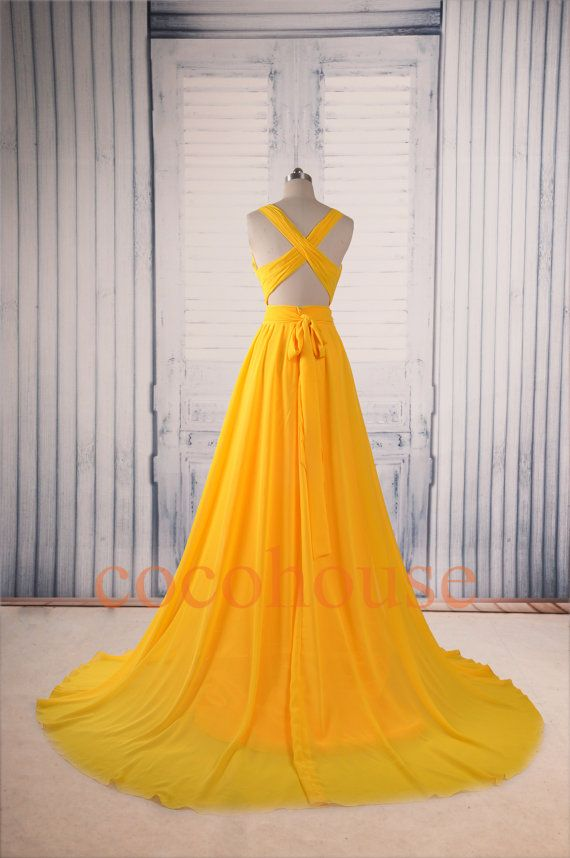 Dark Yellow Sexy Long Prom Dresses Formal Evening por cocohouse