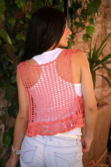 Crochet vest in coral Lace crochet vest Hippie vest by MarryG, $36.00