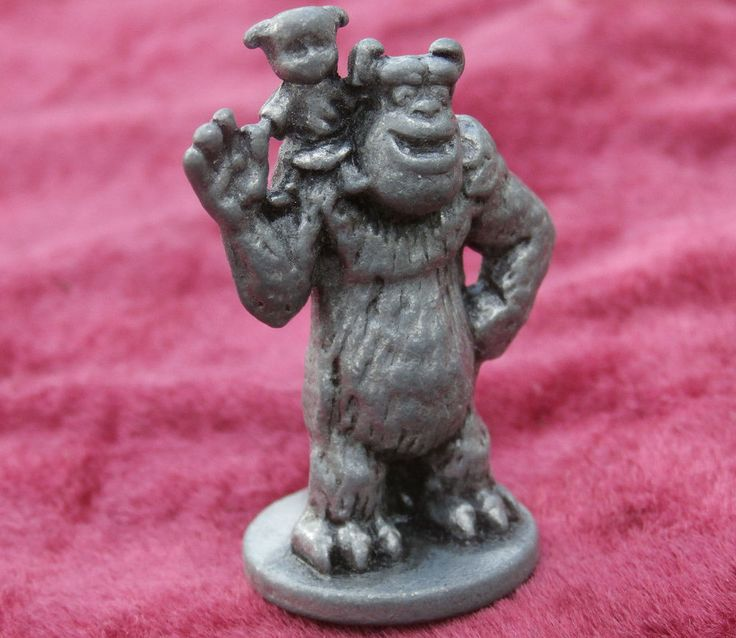 Sully and Boo Metal Figurine, Pixar Monopoly Game Replacement Token Pewter #Disney