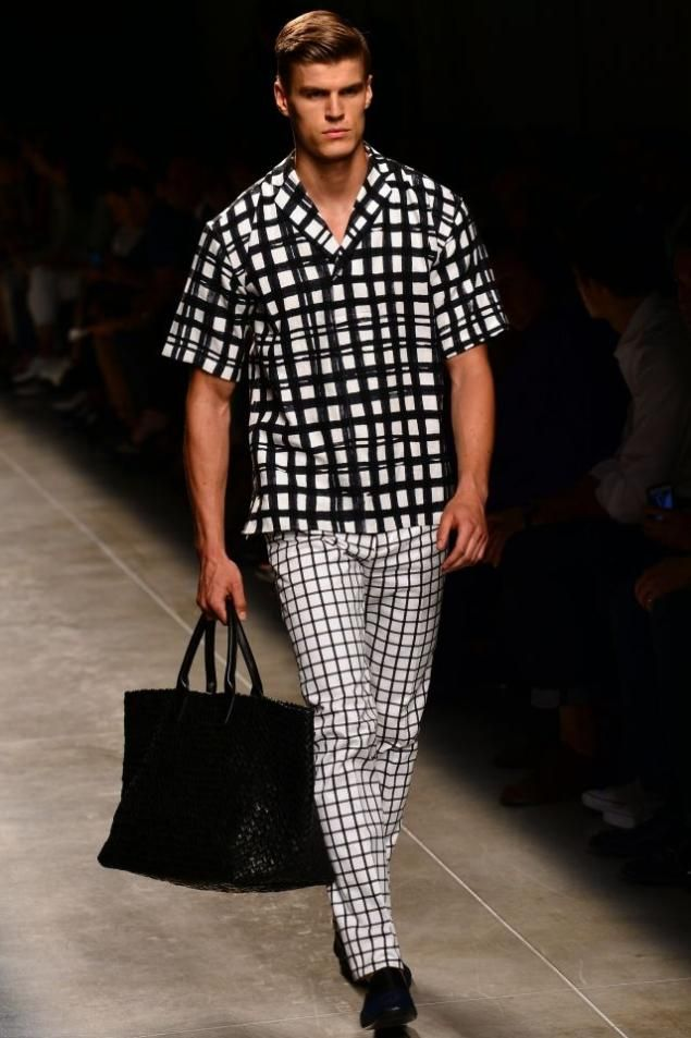 Man bags and casual looks reminiscent of the 1950s, seen here at Bottega Veneta, will be popular for men.