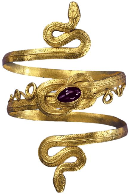 Gold snake bracelet with garnet, Greek-Hellenistic period, 3rd-2nd century BC. From the collection of the Schmuckmuseum, Pforzheim, Germany