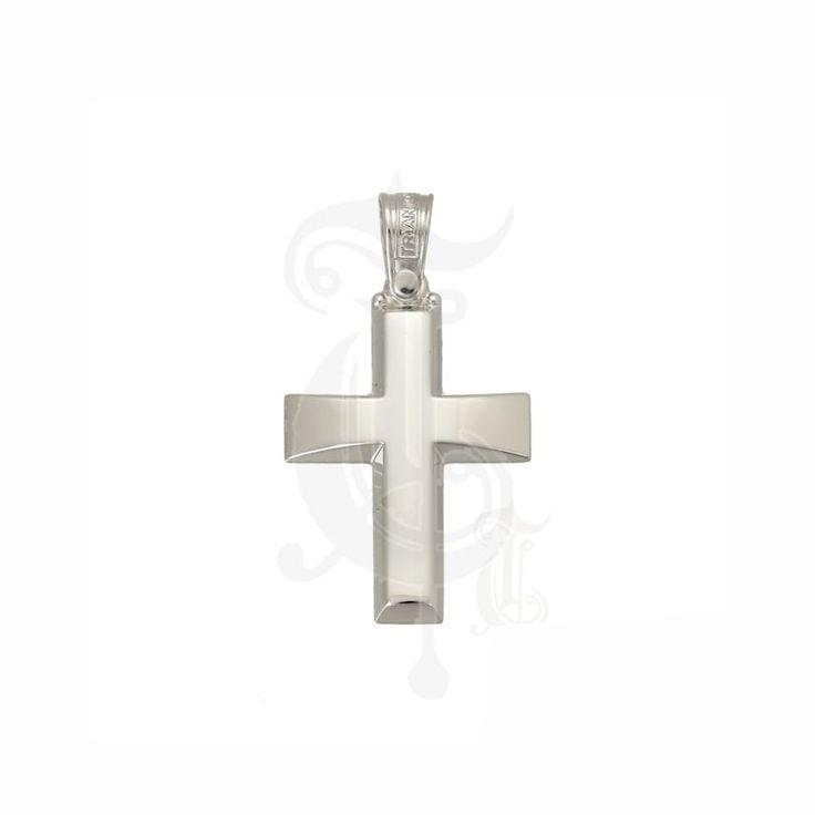 Ένας κλασικός βαπτιστικός σταυρός για αγόρι ΤΡΙΑΝΤΟΣ από λευκόχρυσο Κ14 με κυρτό σχήμα σε γυαλιστερό φινίρισμα | Βαπτιστικοί σταυροί ΤΣΑΛΔΑΡΗΣ Χαλάνδρι #βαπτιστικός #σταυρός #βάπτισης #Τριάντος #αγόρι
