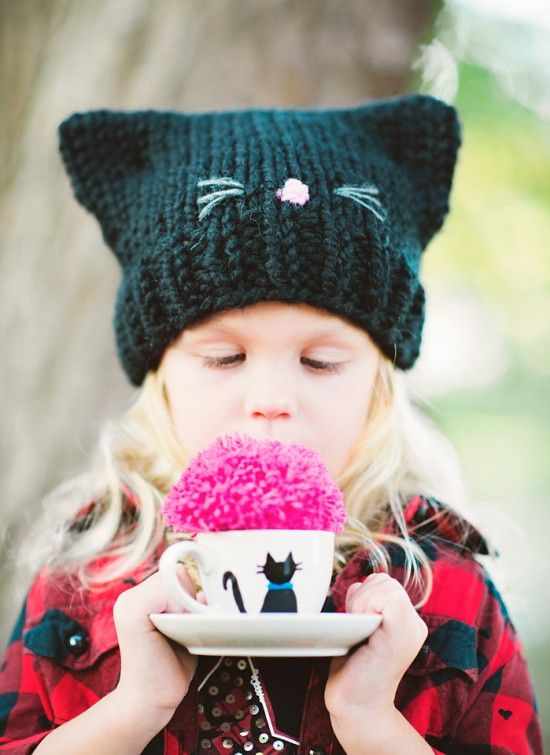 Easy Knitting Pattern for Cat Ears Hat. It's so cute for little kids and perfect for Halloween. | Pattymac Knits