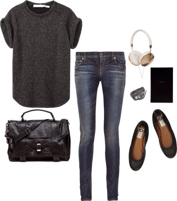 Simple school outfit with charcoal/ gray tee, jeans, and black flats or combat boots