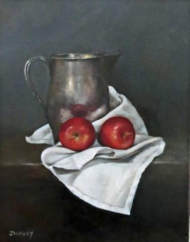 """Saatchi Art Artist Judith Harvey; Painting, """"Apples and Pewter Jug"""" #art"""