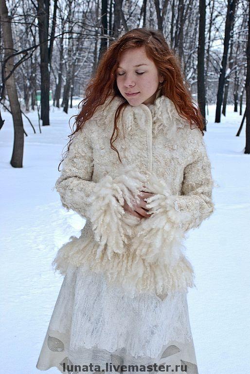 """Купить Цельноваляная шуба """"Frozen lace"""" - одежда из войлока, валяная одежда, женская шуба, войлок"""