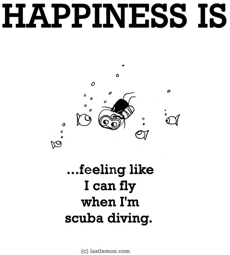 """Happiness is...scuba diving"" quote via www.LastLemon.com"