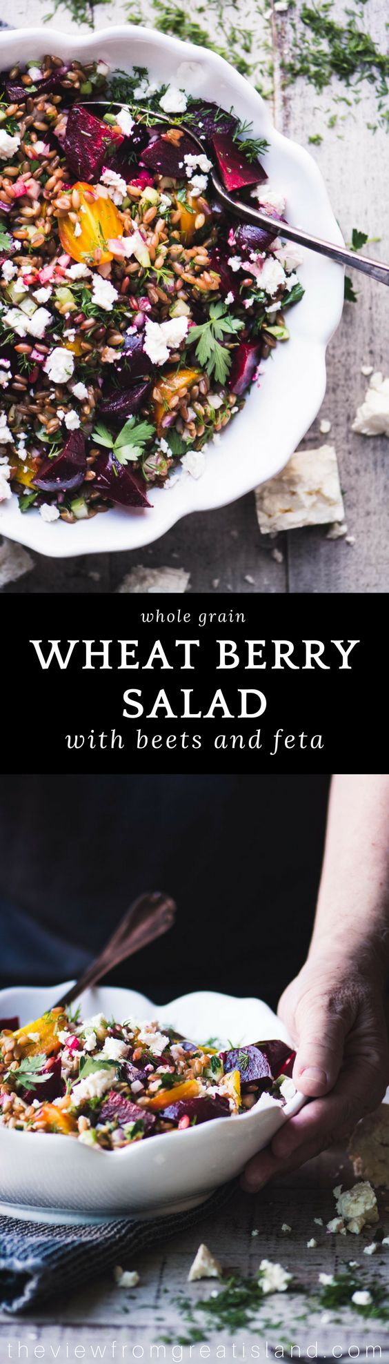 Wheat Berry Salad with Beets and Feta ~ this earthy whole grain salad is stunning enough for your holiday table, and don't be surprised if the carnivores in your group jump ship and join the vegetarians! #salad #wholegrains #wheatberries #grainsalad #side