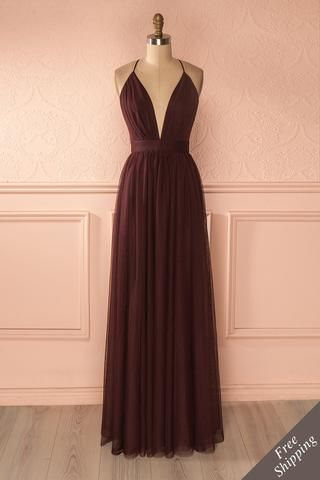 Elif Vin - Burgundy mesh maxi dress with open back