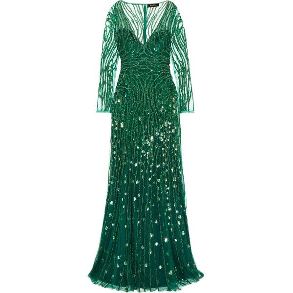 Jenny Packham Embellished tulle gown (€3.600) ❤ liked on Polyvore featuring dresses, gowns, beaded evening gowns, polka dot dresses, sequined dresses, green sequin dress and sequin gown