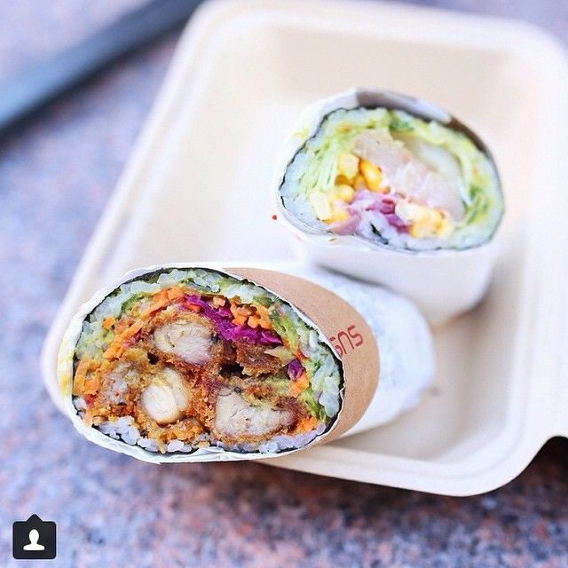 The Mayan Dragon and Satori sushi burrito from Sushirrito in SF. Creds to @thenicolai #sushirrito #sushiburrito #mayandragon #satori #sanfrancisco #goodeats