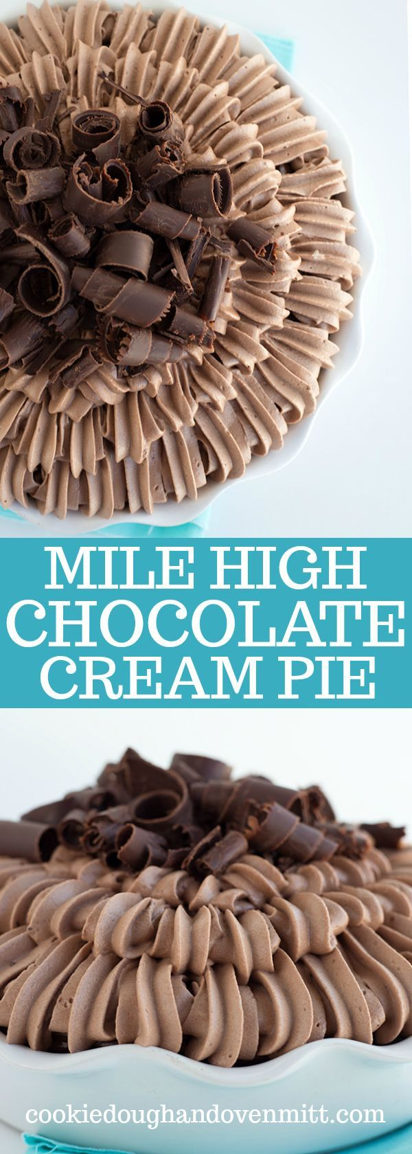 Mile High Chocolate Cream Pie - This is a chocolate lovers cream. It's an easy chocolate cream pie loaded with a chocolate cookie crust, a ganache layer, a chocolate french silk filling, chocolate whipped cream and chocolate curls. This makes the perfect pie for Valentine's day or any occasion! via @mmmirnanda