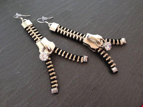 IMPACT Bold Zipper Earrings by ArtologieDesigns on Etsy