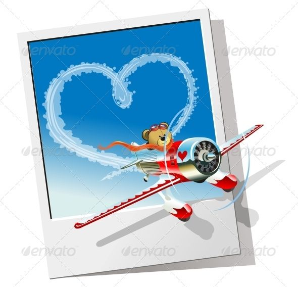 Valentines Card with Cartoon Airplane (Valentines)