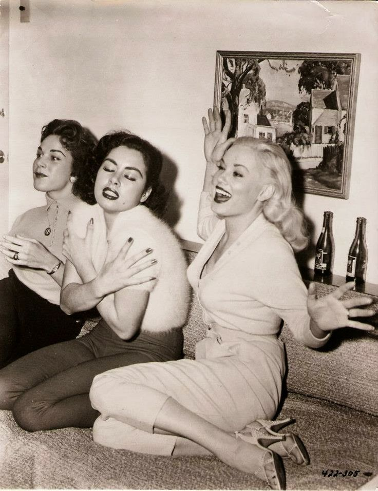"Valerie Reynolds, Jeanne Carmen and Mamie Van Doren at the ""Untamed Youth"" post-premier party, 1957"