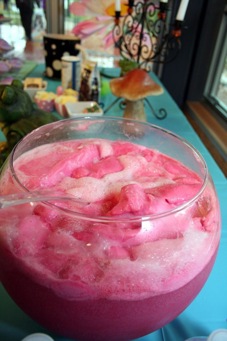Pink Party Punch Recipe ~ pink lemonade, raspberry sorbet, lemon-lime soda. This would be cute for a girl's baby shower
