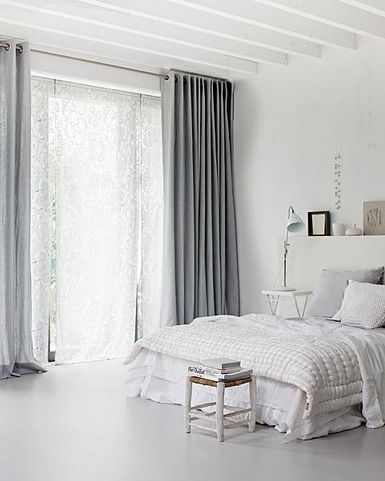 CurtainsGrey Bedrooms, Design Bedroom, Grey Curtains, Bedrooms Design, Beds Room, White Bedrooms, White Bathroom, Windows Treatments, White Room