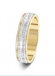 4.5mm two-tone 2 row wide sparkle cut wedding ring