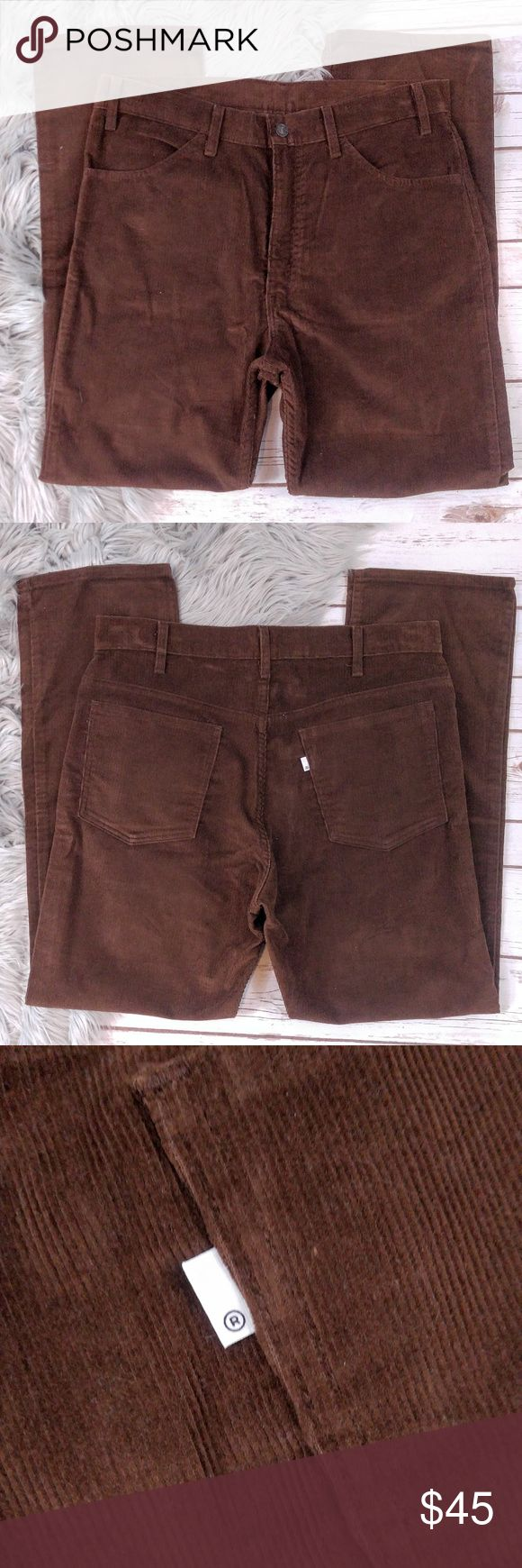 Levi's Vintage 1970's Brown Corduroy SF 207 Pants Levi's Vintage 1970's Brown Corduroy SF 207 Pants Extremely rare, in excellent condition almost new. Priced accordingly, I'm open to offers but please be reasonable. Size: 36 Waist Materials: Cotton Measurements while laying flat: Inseam: 30 Let me know if you have any questions, I'll reply within 24 hours. Levi's Pants Corduroy