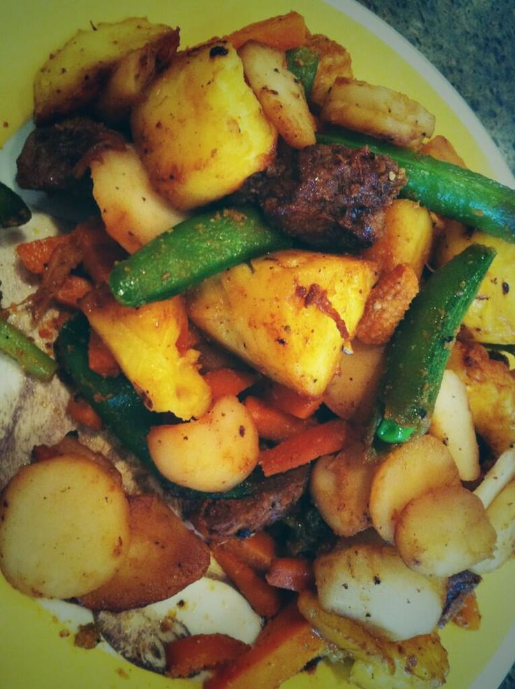 fry !! Steak tips + grilled pineapple + water chestnuts + green beans ...