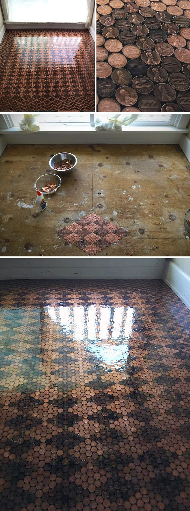 Wondering what to do with that jar of pennies collecting dust in the back of your cupboard? Well, we've finally found a good use for them thanks to Tonya Tooners. The Portland, Oregon-based DIY enthusiast used over 13,000 coins to make a beautiful patterned floor in her house, and as you can see, it's worth every penny!